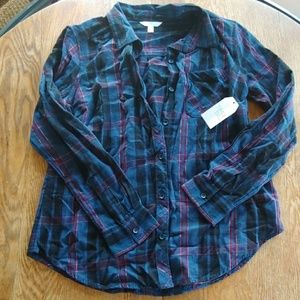 Time and True plaid button down NWT